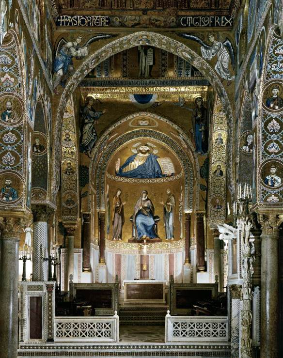Sanctuary, view of the main apse 1140-70 Mosaic Cappella Palatina, Palermo