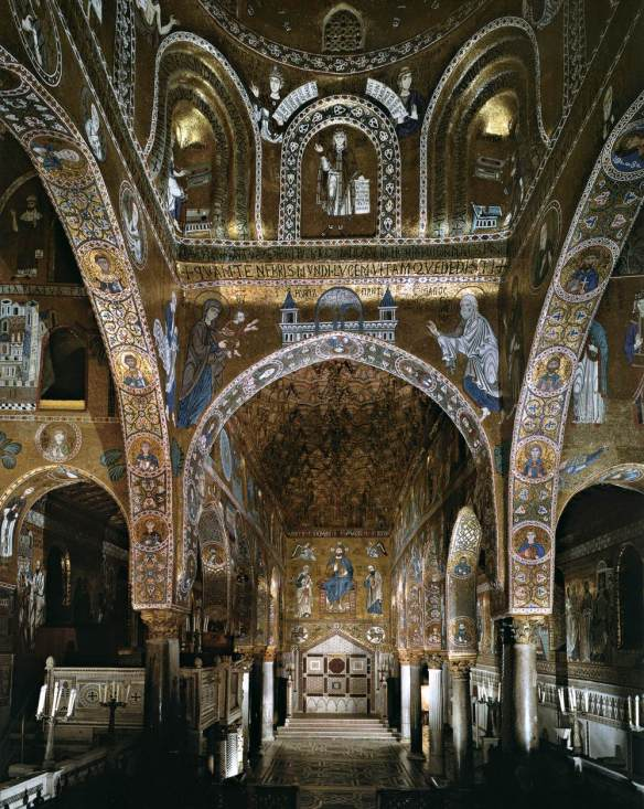 Sanctuary, view of the crossing and nave 1140-70 Mosaic Cappella Palatina, Palermo