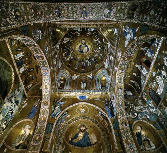 Sanctuary, view of the crossing and main apse 1140-70 Mosaic Cappella Palatina, Palermo