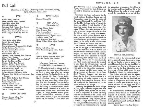 The Chi Omega Lyre sorority newsletter.  The space typically reserved  to announce engagements and weddings of sorority sisters offers instead a touching tribute to Laville's life.  Image courtesy of the Germaine Laville family.