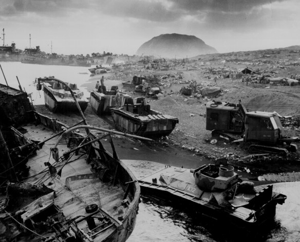 LVTs on Iwo Jima