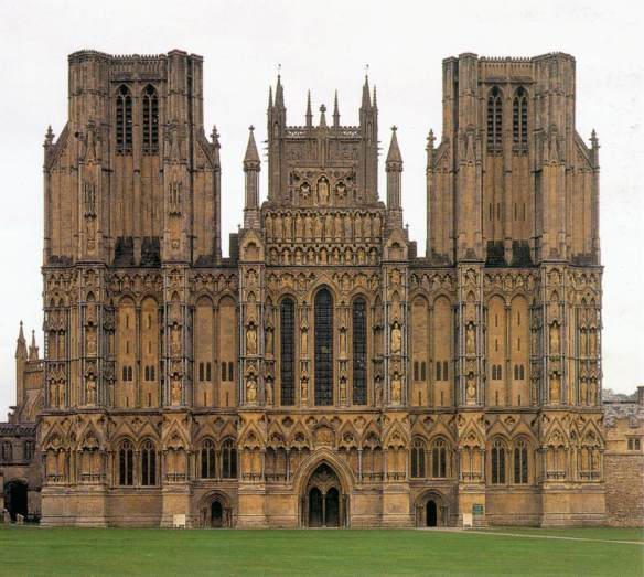 Exterior view begun c. 1230 Photo Cathedral, Wells The architecture of the cathedral presents a harmonious whole which is entirely Gothic and mostly in a single style, the Early English Gothic of the late 12th and early 13th centuries. The picture shows the west front (30m high, 45m wide) of the Wells Cathedral. It is wider than the nave behind it, it is a screen for sculpture, and the single entrance portal is quite insignificant. The exterior has an Early English façade displaying more than three hundred sculpted figures. Originally all these façades would have been brightly colored, the figures painted naturalistically and the background in vivid reds and blues.