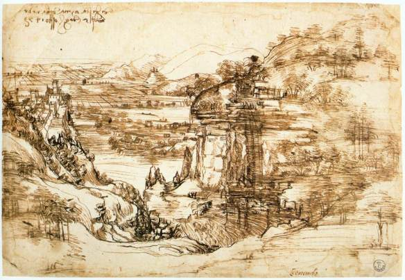 Landscape drawing for Santa Maria della Neve on 5th August 1473 1473 Pen and ink, 190 x 285 mm Galleria degli Uffizi, Florence. The landscape drawing probably shows the view from Montalbano onto the Valdinievole area and the swamps of Fucecchio. It is the first artistic work of Leonardo's that is dated and can definitely be attributed to him, and is at the same time a real rarity: it appears to be the first known depiction of a landscape in Italian art that reproduces an actually existing section of a landscape in an original drawing. The depiction of the tongue of hills with the fortress, the lines of which partially cover the previously drawn landscape, is a later addition on the part of Leonardo. It was not drawn at the original location. There are also weaknesses in the way the fortress is connected into the scene perspectively, for it is not standing horizontally on the ground. The striking waterfall also appears to be a later addition. It is produced using plain yet powerful strokes, making it unlikely that this was a concrete observation. The water is falling into a pond, the extent of which is peculiarly undefined.