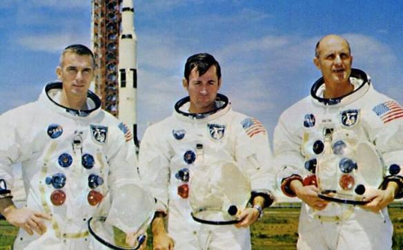 Apollo 10 crew. Col. Thomas P. Stafford, USAF (commanded the mission); Cmdr. John W. Young, USN, and Cmdr. Eugene A. Cernan, USN, Apollo 10's Mission Report. NHHC Photograph Collection, L-File, Aviation, Space.