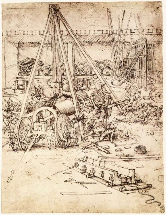 Cannon foundry 1487 Pen and ink on paper Royal Library, Windsor. The project for casting a gigantic cannon leads us to assume that Leonardo was familiar with the customary process for casting cannon. The heavy cannon was to be moved by means of levers and block and tackle, then to be mounted on a moving undercarriage. Even though this is merely a drawing on a technical subject, one can clearly see what an enormous effort the figures are having to make to shift the weight.