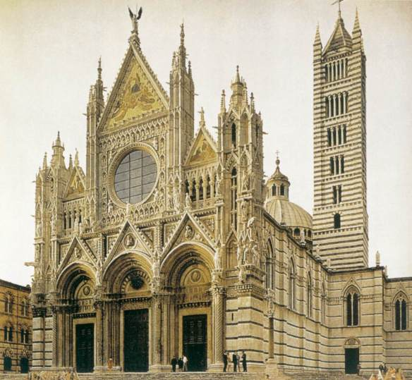Exterior view of the Cathedral 1270s (completed) Photo Duomo, Siena
