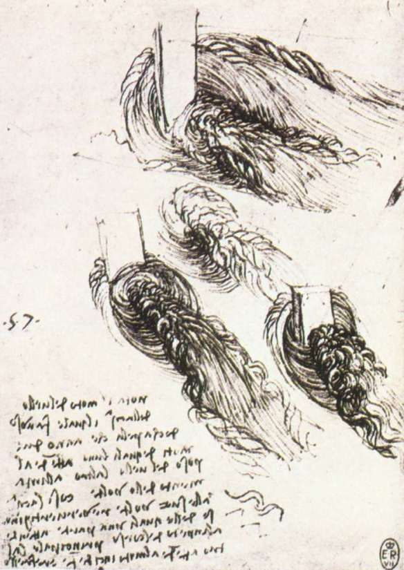 Study of water c. 1513 Pen and ink on paper, 154 x 216 mm Royal Library, Windsor. Even when Leonardo was working on technical subjects, he never lost sight of his interests as a painter: the water studies, and the note in which he comments on similarities between the fall of the hair and the movements of the water, appear to have been expressed visually in the hair of the St John the Baptist in the Louvre.