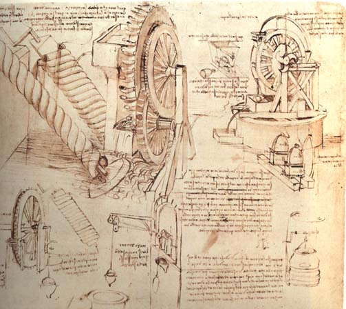 Drawings of Water Lifting Devices 1480-82 Drawing Biblioteca Ambrosiana, Milan. From the Codex Atlanticus. Leonardo was involved in several engineering projects, for irrigation, drainage and digging canals.