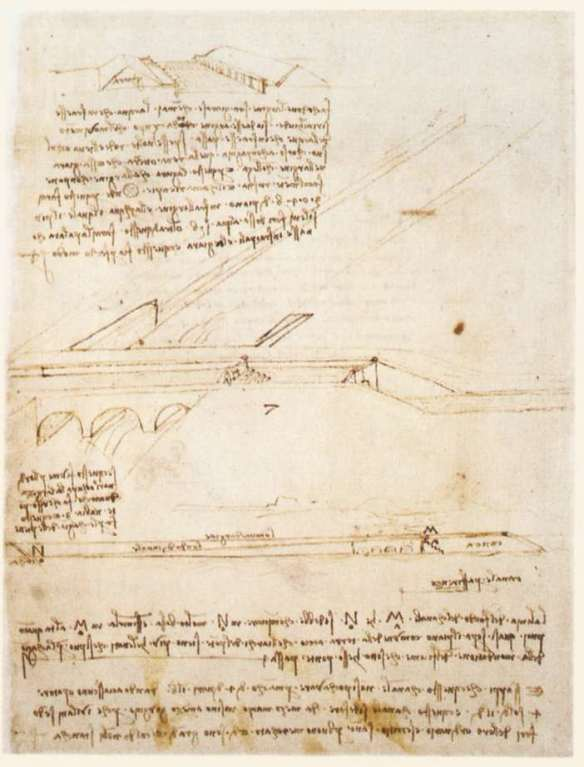 Canal bridge c. 1495 Pen and ink on paper, 27 x 20 cm Biblioteca Ambrosiana, Milan. On this sheet (Codex Atlanticus, fol. 126v) Leonardo designed a canal bridge crossing over a second water course flowing beneath it. A lock would be used to enable a ship to pass from one to the other despite the height difference.