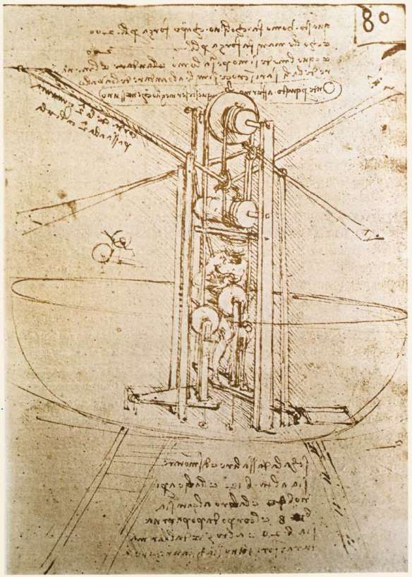 Flying machine c. 1487 Metalpoint, pen and ink on paper, 235 x 176 mm Institut de France, Paris.
