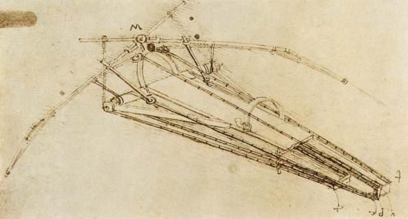Drawing of a flying machine c. 1485 Pen and ink on paper, 23 x 16 cm Bibliothèque de l'Institut de France, Paris