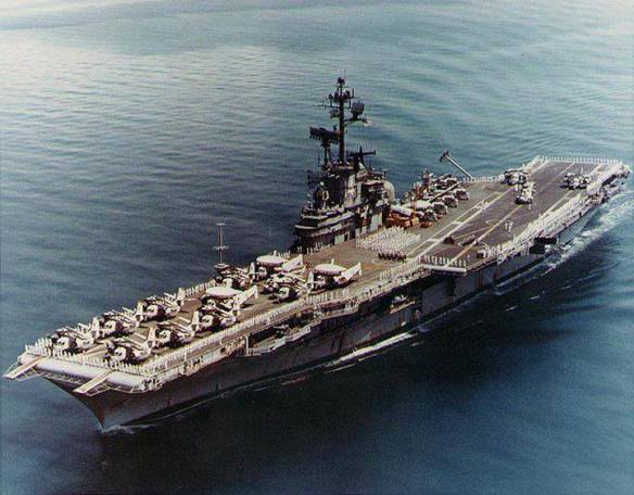 USS Ticonderoga (CVS 14). With her rails manned, circa 1970-72, following conversion to an anti-submarine warfare support aircraft carrier. Official U.S. Navy Photograph.