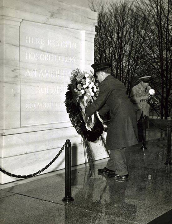 Private First Class Frank Calvin, USMC, places the wreath on the Tomb of the Unknown Soldier. Private Calvin is himself the recipient of two Navy Crosses, the Purple Heart, and the Presidential Unit Citation, circa 1943.
