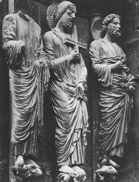 Figures from the Judgment Portal c. 1220 Stone Cathedral, Reims